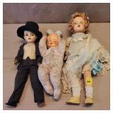 2 Madame Alexander Porcelain Dolls & 1 Vintage
