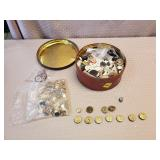 Can of Vintage Buttons, Some Military Buttons