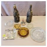 Lot of Assorted Ash Trays & 2 Bottles