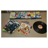 VHS & 45 Records w/ Books
