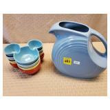 Fiesta Blue Pitcher & Disney Sauce Bowls