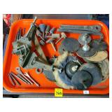 Tray of Assorted Grinders, Clamps, Bits