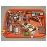 Tray Lot of Locks, Gillette Razors USA, Keys,