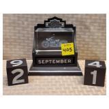 Harley Davidson Glass & Block Calendar Set