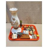 Milk Glass Oil Lamp, Tray Lot of Assorted Items