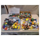 Tray Lot of Assorted Small Toys, Metal, Wood Toys