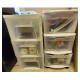 Lot of 2 Plastic 3 Tier Compartment Organizers