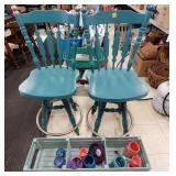 Lot of 2 Painted Bar Stools, Long Wood Crate