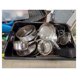 Large Tote of Assorted Pots, Pans, Kitchenware