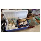 Large Blue & White Cooler w/ Decor Items