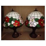 Pair of Repo Tiffany Style Table Lamps