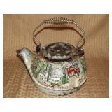 Hand Painted Cast Iron Tea Pot