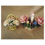 Capodimonte Flower Basket & Flower Knick Knack