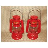 2 Chinese Red Oil Lanterns