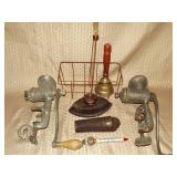 2 Food Choppers, Iron, Bell, Vintage Kitchen Ware