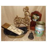 Decor Grouping, Cast Iron Bell, Sign, Reindeer