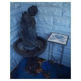 Fountain & Wrought Iron Planter