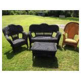 Black Wicker Patio Set + Tan Chair