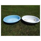 2 Enamelware Wash Bowls Grouping