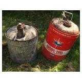 Galvanized Oil Can & Snobil Fuel 6 Gallon Can