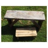 Primitve Bench & Hand Made Stool