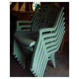 6 Green Plastic Patio Chairs