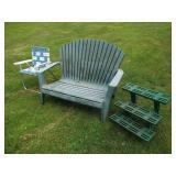 Folding Chair, Planter, Bench