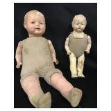 Lot - 2 Cloth Body Dolls (as found)