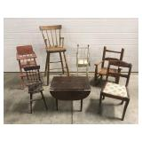 Lot - 7 Pieces of Wooden Doll Furniture