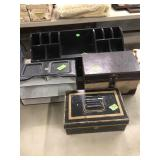 2 ORGANIZERS, STORAGE BOX & METAL CASH BOX