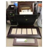 GROUP W/ STORAGE BASKET, PICTURE FRAMES & CORDLESS
