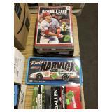 GROUP W/ BASEBALL CARD BOOKS, NASCAR PLATE SIGNS,