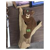 CARVED WOOD BEAR & BOX OF PICTURES