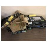 SAFETY BELT, 3 CARPENTERS APRONS & TIRE CHAINS