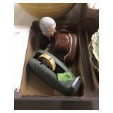 CERAMIC CHESS SET, BOX W/ TAPE DISPENSER, CAMERA &