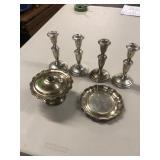 BX OF 4 STERLING CANDLE HOLDERS, STERLING COVERED