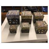 SET OF 6 DECORATIVE BOXES