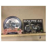 2 ROUTE 66 METAL SIGNS