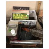 2 BX OF GUN BOOKS, COLEMAN FUEL, TROUBLE LIGHT &