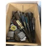 WOOD BOX OF SCREWDRIVERS & TAPE MEASURERS
