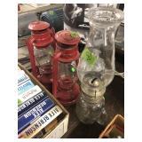 2 RED BARN LANTERNS & KEROSCENE LAMP