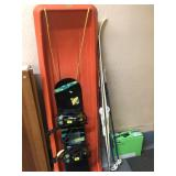 GROUP OF SLED, SNOWBOARD, CROSS COUNTRY SKIS,
