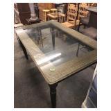 GLASS TOP RATAN DINING TABLE
