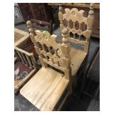 2 CARVED BACK WOOD CHAIRS