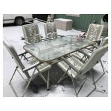 PATIO TABLE & 6 FOLDING CHAIRS
