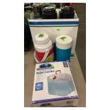 GROUP W/ WATER CARRIER, COOLER BOTTLES, STANLEY