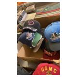BOX OF SPORTS HATS & MISC
