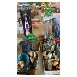 LAVA LAMP & 3 BOXES OF DRAGON FIGURINES & OTHER
