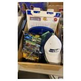 BOX W/ SPORTS COLLECTIBLES, HATS & MISC