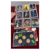 GROUP W/ SPORTS CARDS, 2005 GOLD PLATED QTR SET,